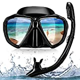 HUBO SPORTS Dry Top Snorkel Set, Snorkel Mask for Adults, No Leaking Scuba Diving Mask with Carry Bag (Black)