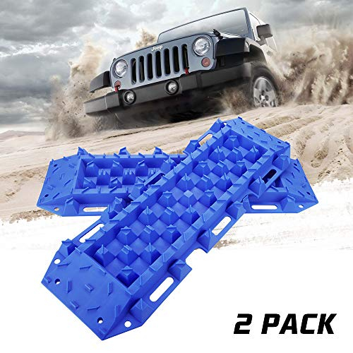 BUNKER INDUST Traction Tracks Mat, 2 Pcs Traction Boards Recovery Tool for Off-Road 4X4 Mud, Sand, Snow-Blue Track Tire Ladder