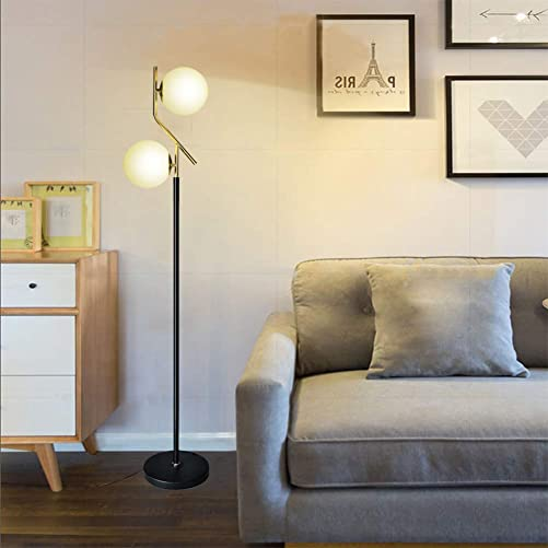 Hsyile Lighting KU300208 Modern Style Two Milky White Glass Orbs and Brass Finish Floor Lamp