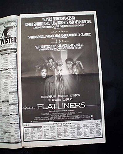 Best FLATLINERS Horror Movie Opening Day Poster Size AD 1990 L.A. CA Newspaper LOS ANGELES TIMES, August 10, 1990