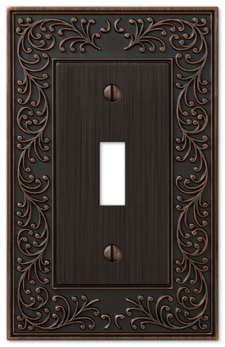 (Amerelle English Garden Single Toggle Cast Metal Wallplate in Aged Bronze)