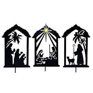 Amazon Com Lighted Shadow Nativity Shadow Stakes Black
