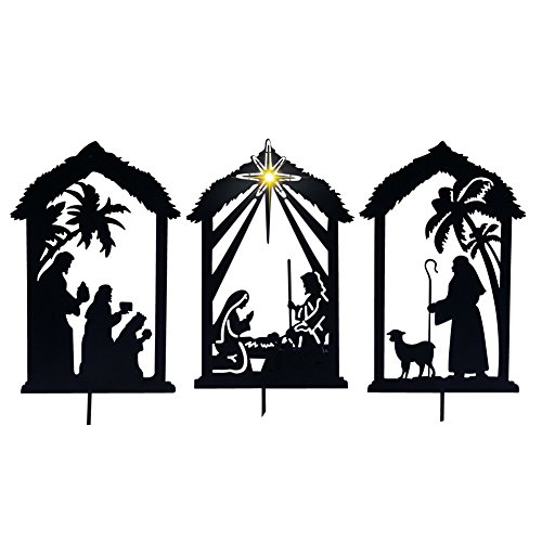 Lighted Shadow Nativity Stakes Black