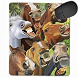 Mouse Pad with Design Funny Horses Emoji Selfie for Computer Office Gaming