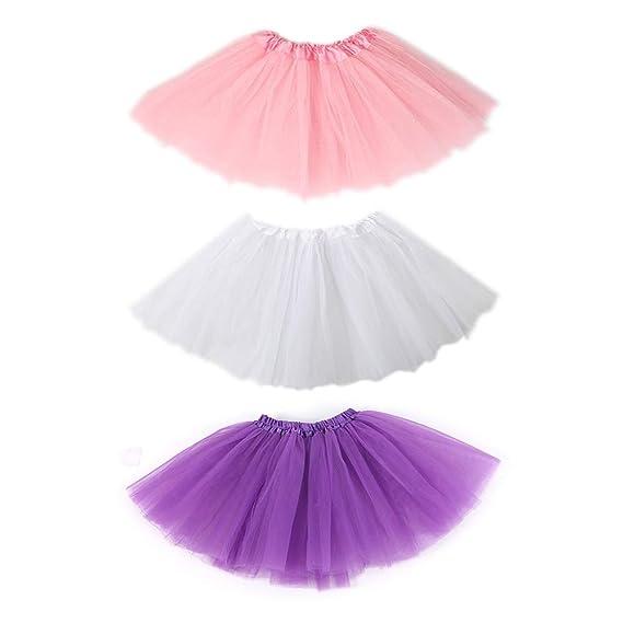 SIEBENEINSY Tüllrock 3 Set Mädchen Ballett Röcke Tutu Rock Ballettrock Tütü Tüllrock für Party Mädchen Kostüm Ballettrock Cla