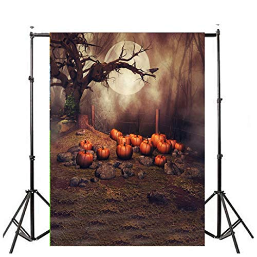 CYCTECH Halloween Photography Backdrops Night Full Moon Horrible Forest Dead Trees Spider Backgrounds for Children Holloween Party Photo Photography Studio -