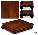 AmorFati PS4 PRO Playstation 4 PRO Console Skin Decal Sticker - NaturalBrown Wood + 2 Controller Skins Set