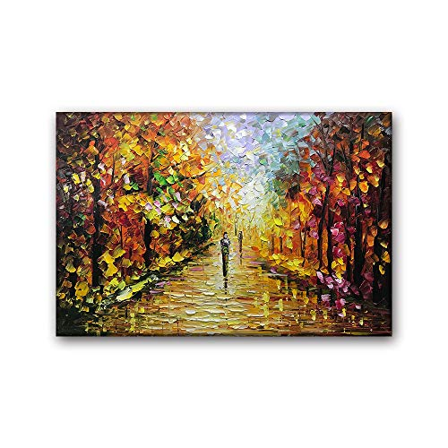 - Desihum Desihum-24x36Inch Oil Paintings Canvas Wall Art Autumn Trees Contemporary Pictures for Living Room Modern Wrapped Landscape Forest Artwork on Canvas