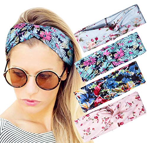 Darller 4 Pack Boho Headbands for Women Fashion Wide Floral Style Hair Band (Piece Headband 2)