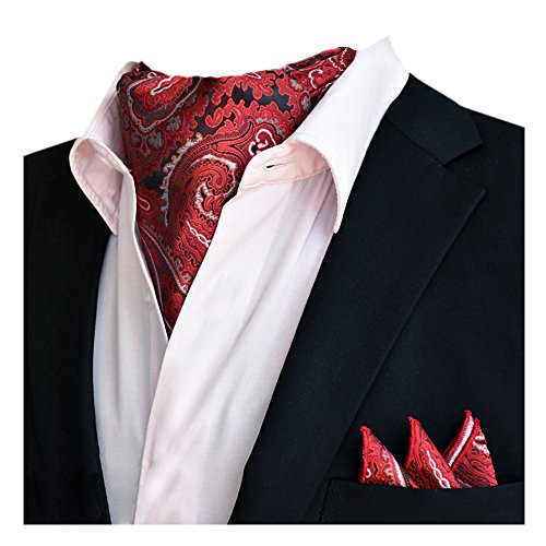 Red Ascot Tie Handkerchief Men's Silk Floral Wedding YCHENG Paisley 21 Xlj Elegant Set Business OwqRWST