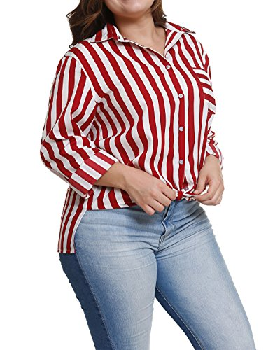 Raye JackenLOVE Rouge Hauts Chemisiers Grande Femmes Longues Blouse Tee Automne Revers Chemises Tops Manches et Shirts Fashion Casual Printemps Taille Lache BRqwvBPzr