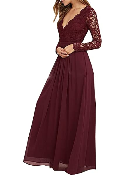 fc1117be72 Image Unavailable. Image not available for. Color  inmagicdress Burgundy  Bridesmaid Dresses Long Sleeves Lace Chiffon Maid of Honor ...