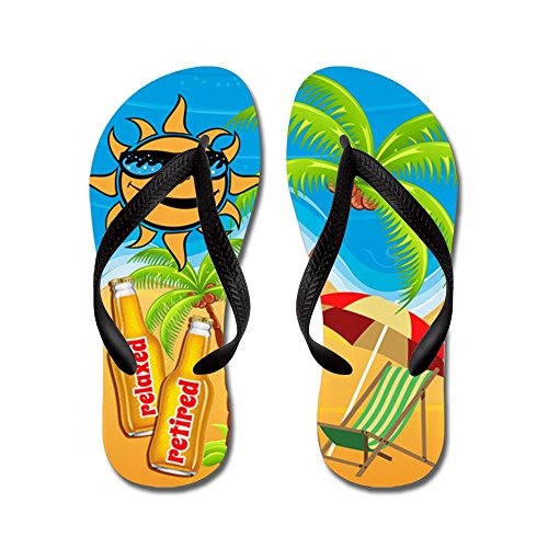 CafePress Retired and Relaxed - Flip Flops, Funny Thong Sandals, Beach Sandals Black
