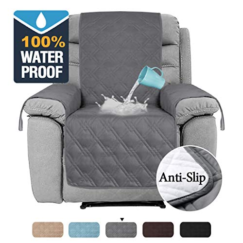 H.VERSAILTEX 100% Waterproof Recliner Covers for Large Recliner Stay in Place Non Slip Recliner Chair Cover for Leather Waterproof Furniture Cover for Dogs Pets (Recliner Large: Grey)