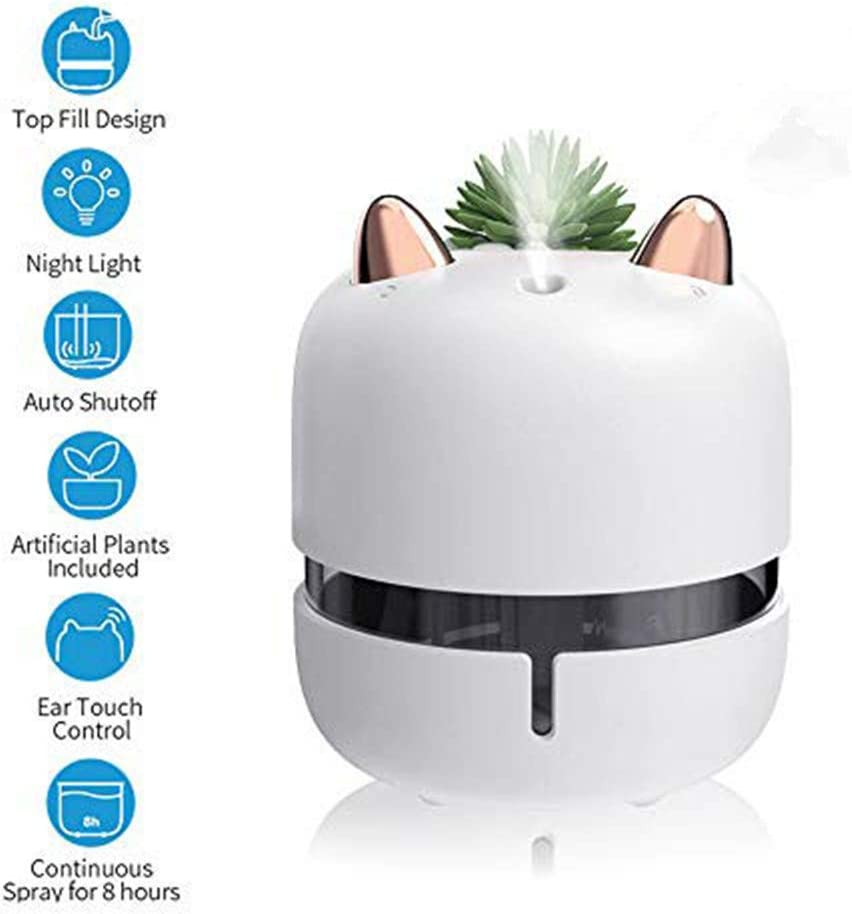 FANMI Mini Humidifier,Ear Touch Control Cool Mist Humidifier with Night Light, Top Fill USB Personal Desktop Humidifier for Bedroom Home Office with Plant Cup,Auto Shut-Off, Two Mist Modes (White)
