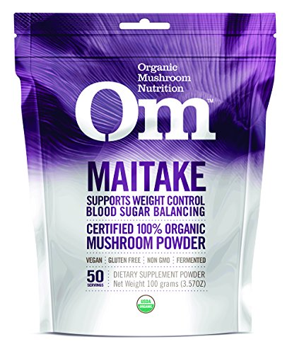 - Om Organic Mushroom Nutrition Supplement, Maitake: Weight Control, Blood Sugar Control, 50 servings, 3.57oz, 100 grams