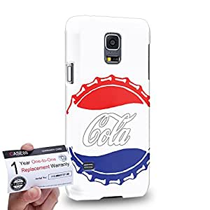 Case88 [Samsung Galaxy S5 Mini] 3D Printed Snap-on Hard Case & Warranty Card - Art Hand Drawing Coke Cola Red & Blue Bottle Caps