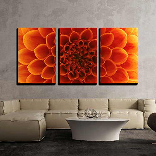 Orange Wall Decor - wall26 - 3 Piece Canvas Wall Art - Abstract flower and beautiful petals - Modern Home Decor Stretched and Framed Ready to Hang - 16