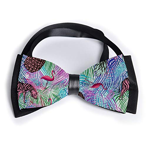 Colorful Palm Leaf Pineapple Zebra Flamingo Adjustable Mens Silk Square Bowtie Gift Formal Pre-tied Satin Tuxedo Bow Ties for Men Unisex Birthday - Pre Palm Pink Zebra