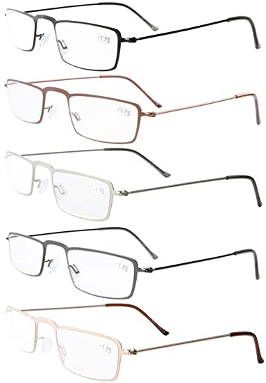622d114954bd Image Unavailable. Image not available for. Color  Eyekepepr 5-Pack  Stainless Steel Frame Half-Eye Style Reading Glasses Readers +1.0