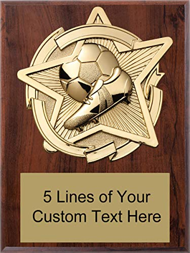 (Express Medals 6 x 8 Cherry Finish Soccer Star Plaque Trophy Award with Custom Engraved Personalized Text)