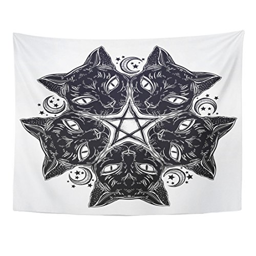 Emvency Tapestry Black Cat Head Round Portrait Madnala with Moon Pentagram Ideal Halloween and Tattoo Wicca Witchcraft Home Decor Wall Hanging for Living Room Bedroom Dorm 60x80 inches