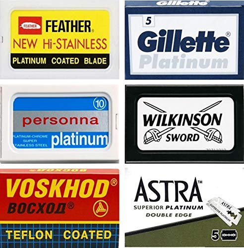 40 Excellent Quality Double Edge Razor Blades Sampler (6 different brands) (Best Quality Safety Razor)