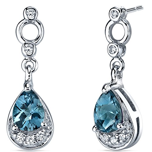 London Blue Topaz Dangle Earrings in Sterling Silver Rhodium Nickel Finish 1.50 Carats Total Weight