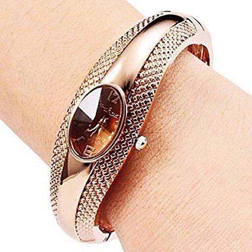 Internet Mode Goldene Oval Quarz Uhr Dame Stulpe Armband Armband Armbanduhr