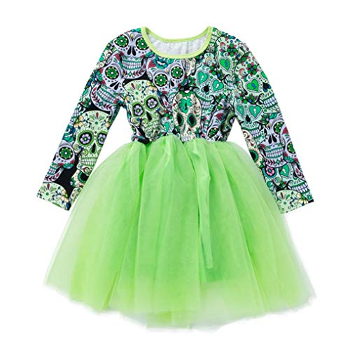 Clearance Newborn Halloween Cartoon Skull Printed Princess Dresses - vermers Baby Girls Long Sleeve Dress Clothes(5T, Green)