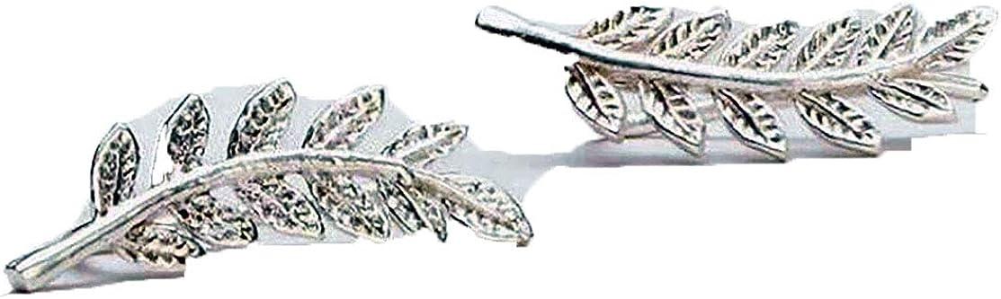 IminiJewelry Fashion Leaf Sterling Silver Mini Studs Earrings Wrap Cuffs for Women Teen Girls Wave Ear Crawler Climber Cute Pin Hypoallergenic
