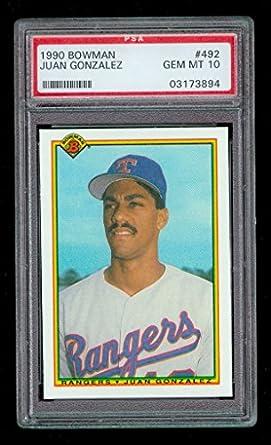 1990 Bowman Juan Gonzalez 492 Psa 10 Graded Rookie Card At