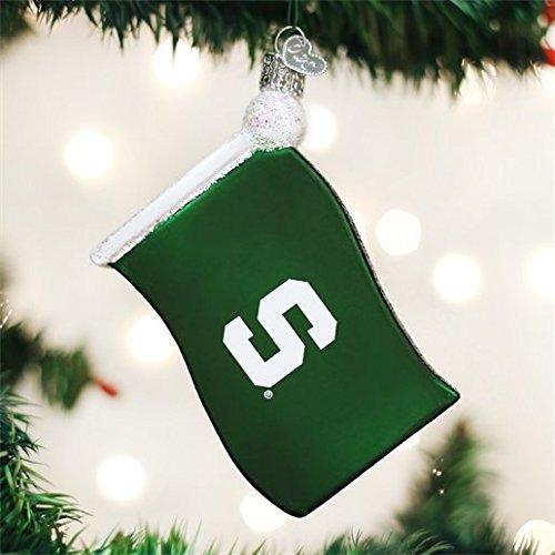 Old World Christmas Michigan State University Flag Glass Blown Ornament (Michigan State Ornaments Christmas)