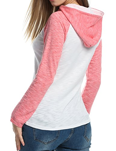 Zeagoo Women's Pullover Hoodie Raglan Sleeve Casual Slim Hooded Sweatshirt (Medium, Watermelon Red) (Clothing Teen Girls compare prices)