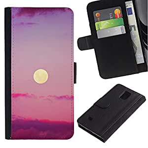 Billetera de Cuero Caso Titular de la tarjeta Carcasa Funda para Samsung Galaxy Note 4 SM-N910 / Purple Sunset Clouds Nature Sky Summer / STRONG