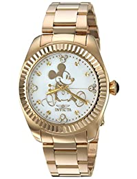 Invicta Women's Disney Mother Of Pearl S. Steel Gold Tone 200m Watch 24913