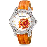 """JEANNIE ROSE  """"A Dozen Roses"""" Watches   40MM Women's Analog Watch   Orange on Whiteface A01"""