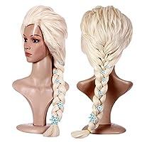 Anogol Hair Cap + Blonde Cosplay Wig Party Braid Hair Pelucas para disfraces de Halloween con 6 copos de nieve