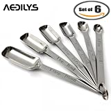 AEDILYS Set of 6 Best Measuring Spoons for Dry & Liquid Ingredients – Narrow Shape to Fit in Spice Jars – Perfect for Baking & Cooking -Professional Quality with Engraved U.S & Metric Sizes