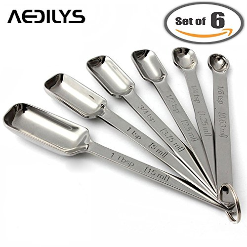 AEDILYS Set of 6 Best Measuring Spoons for Dry & Liquid Ingredients - Narrow Shape to Fit in Spice Jars - Perfect for Baking & Cooking -Professional Quality with Engraved U.S & Metric Sizes