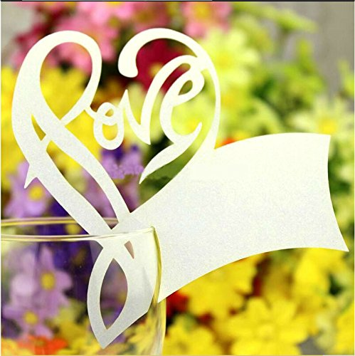 Worldoor® 50 White Gorgeous Love Letter Heart Laser Cut Wedding Table Name Place Cards Wine Glass Party Decoration Centerpieces/ Laser Cut Love Heart Wine Glass Name Place Cards Seating Cards Table Name Cards Wedding Party Decoration