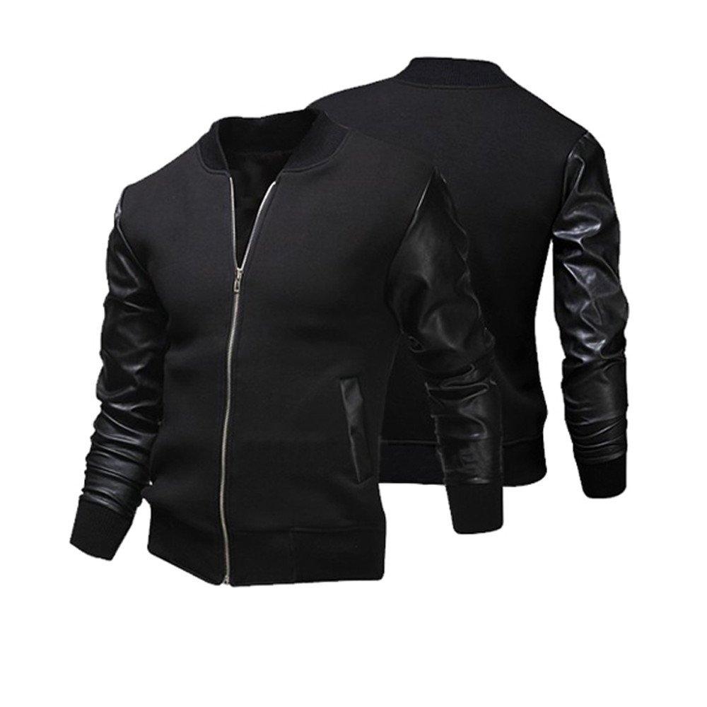 Men's Long Sleeve Full Zipper Jacket,Clearance!! Males Slim Fit Solid Pockets Tops Steampunk Outwear Coat by cobcob men's Coat