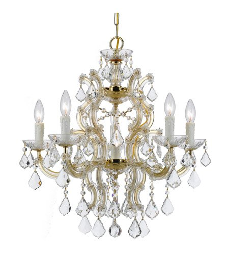 - Chandeliers 6 Light with Gold Clear Swarovski Strass Clear Crystal Wrought Iron 23 inch 360 Watts - World of Lighting