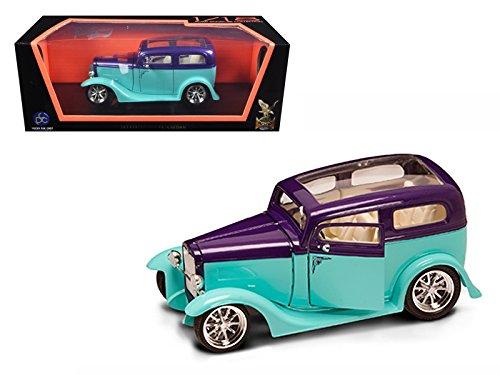- 1931 Ford Model A Sedan Green/Purple 1/18 Model Car by Road Signature
