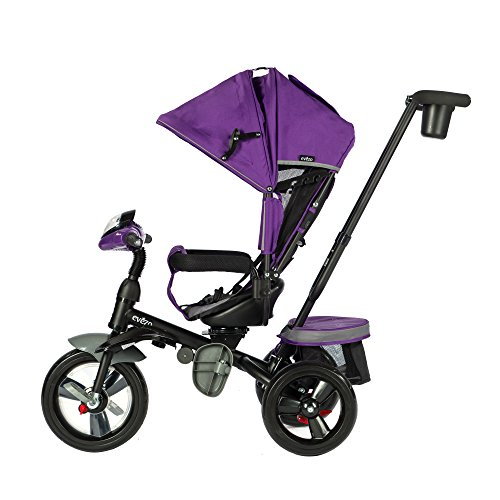 (Evezo 302A 4-in-1 Parent Push Tricycle for Kids, Stroller Trike Convertible, Swivel Seat, Reclining Seat, 5-Point Safety Harness, Full Canopy, LED Headlight, Storage Bin (Purple Violet))