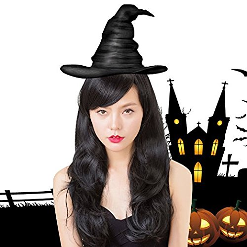 Morticia Adult Wig (Rabbitgoo Halloween Women Long Black Cosplay Curly Full Cap Wig with Side Bang)