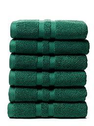 Chortex Irvington %100 Turkish Cotton Hand Towel, Set of 6 (Forest Green)