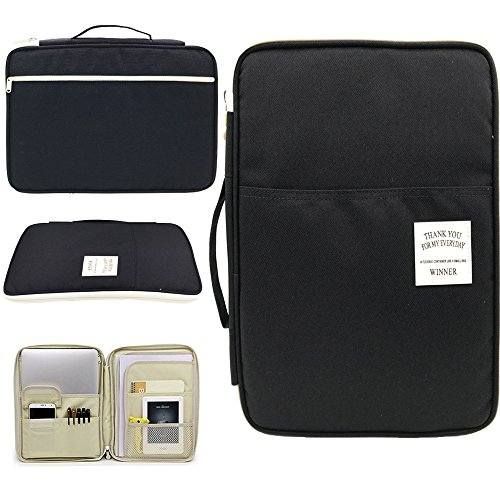 Amazing Tour A4 Documents Case Files Tickets Organizer Zipped Storage Messenger Portable IPad Bag Handbag Day Pack Multi-Function for Travel and Office Black Bag by Amazing Tour
