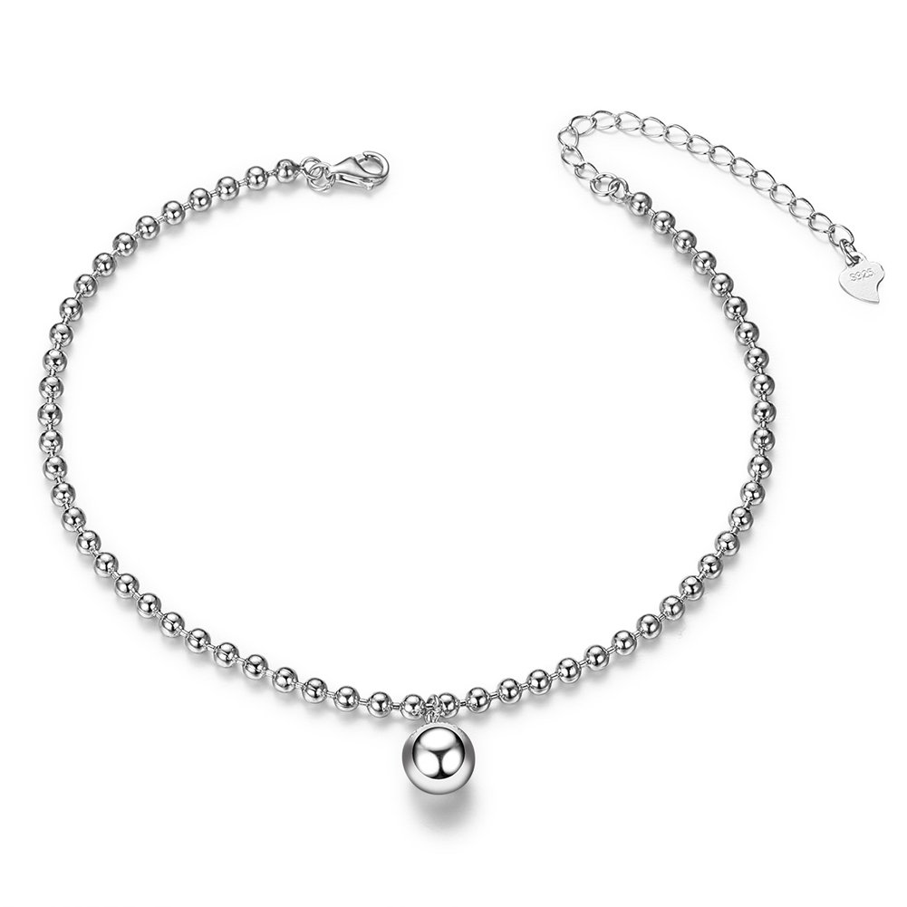 SHEGRACE 925 Sterling Silver Anklet with Beads Platinum 200mm for Woman JA32A