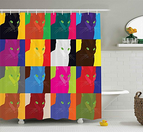 YCHY Cat Decor Shower Curtain by, Pop Art Style Featured Fractal Kitty Portraits Frame with Color Effects Artsy Print, Fabric Bathroom Decor Set with Hooks, 84 Inches Extra Long, Multi